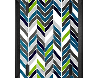 Custom OtterBox Defender for Apple iPad 2 3 4 / Air 1 2 / Mini 1 2 3 4 - CUSTOM Monogram - Teal Navy Grey Herringbone