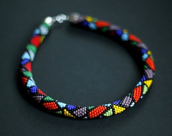 Picasso Necklace, Bead Crochet Necklace, Colorful Ankara African Necklace, Ethnic Beadwork, Ethnic Necklace - MADE TO ORDER
