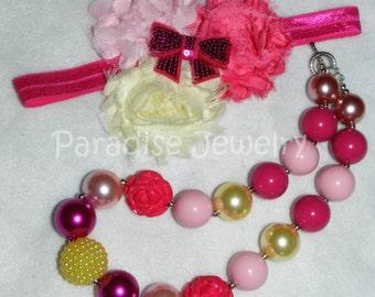 Toddler Necklace Bow Shabby Chic Headband Bubblegum Bead Necklace Set Pink Ivory Little Girls Vintage Inspired Birthday Girls Toddler Baby