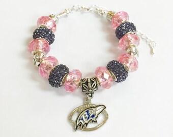 Baltimore Ravens Breast Cancer Awareness Bracelet