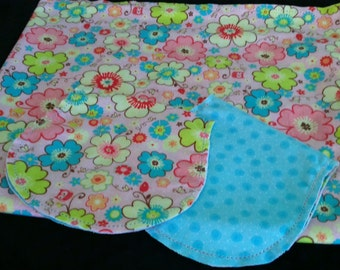 Multi Colored Flowers with Owls and Blue Poke Dot Backing Hemstitched Baby Blanket and Burps ready for you to crochet by Lindas Hemstitching