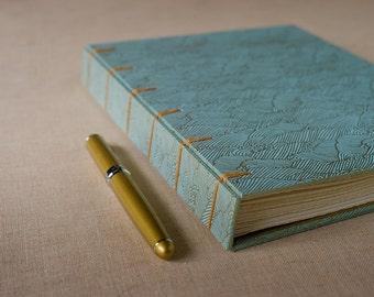 Blue & Gold Waves Notebook Sketchbook or Journal // Secret Belgian Binding
