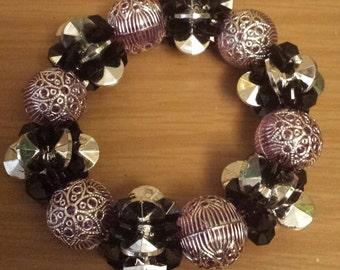 purple black and silver chunky bracelet