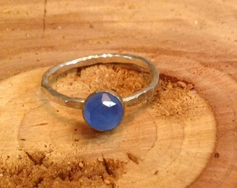 Sterling silver one of a kind ocean blue chalcedony gemstone stacking ring.  Size 7 only.   Hammered for sparkle. Ready to ship. 7 7.25 7.5