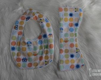 Spotty Owl Bib & Burb Cloth Set