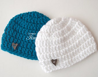 Twin Hats Set, Twin Boy Hats, Teal and White Hat, Baby Boy Twin Hats, Crochet Twin Hats, Hospital Twin Hats, Twin Baby Outfits, Newborn Hat