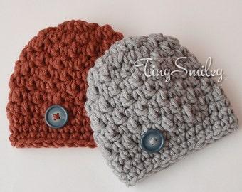 Chunky Twin Boys Hats, Twin Boys Set, Crochet Baby Boy Hats, Brown Boy Hat, Baby Boy Outfit, Newborn Twin Hats, Gray Boy Hat, Baby Hats