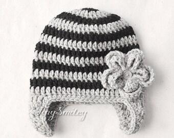 Newborn Baby Girl Hat, Earflap Baby Girl Hat, Gray and Black Baby Girl Hat, Newborn Girl Hat, Infant Winter Hats, Hospital Flower Hat