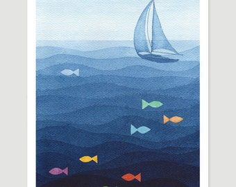 Watercolor painting Original sailboat art blue nautical watercolor wall decor nursery fish illustration Vapinx