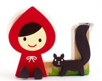 Little Red Riding Hood Washi Tape Dispenser - Wooden Tape Holder - Kawaii Otogicco Japanese Tape Cutter