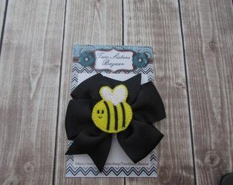 Bee Hair Bow, Girls Hair Bow, Bumble Bee Bow, Hair Bow, Black Hair Bow