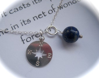 Sterling Silver Compass and Lapis Lazuli Gemstone Necklace