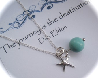 Sterling Silver Compass Charm and Turquoise Gemstone Necklace Journey Travel