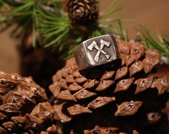 Sterling Silver Men's Axe Signet Ring