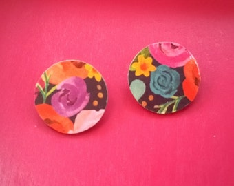 Flower Garden (2)- Handmade Wooden Earrings