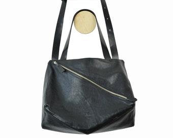 Sayo big leather bag crossover messenger black calf skin