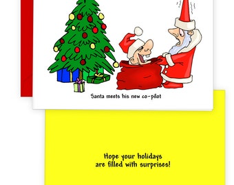 Christmas Holiday Card, Santa Meets His New Co-Pilot, Aviation Humor