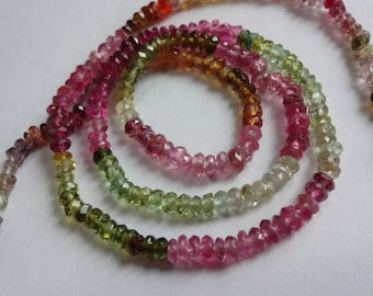 Natural Multi-Tourmaline faceted rondelles beads rich colors size 3mm sold per 14-inch strand GW276