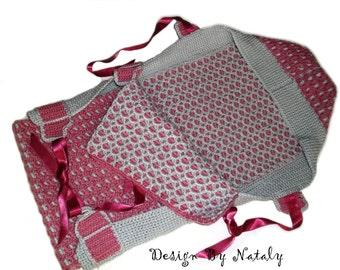 FREE SHIPPING Crochet envelope for newborn Newborn girl Wool Pink Gray