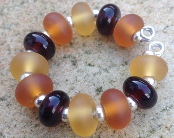 12 Amber Lampwork Glass Bead Set