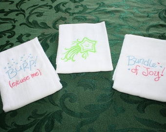 Shooting Star, Embroidered, Baby Burping Cloths.  Set of Three.