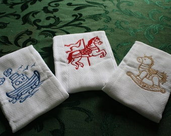 Horse and Boat, Embroidered, Baby Burp Cloths.  Set of Three.
