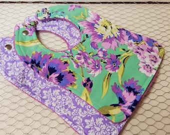 Baby girl bbs, Baby bib set, Baby bibs, Purple floral