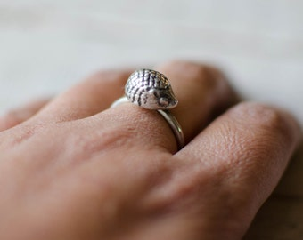 Ring delicate fine, 3D, hedgehog, silver, minimalist adorable