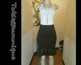 Black pencil skirt with faux leather flounce  (peplum)