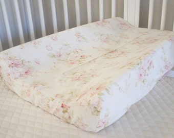 Mary Rose Vintage Shabby Chic Roses Floral Pink on Cream / Ivory Changing Pad Cover