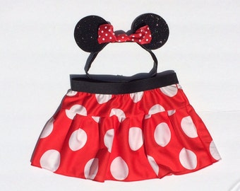 Minnie Mouse Skirt and Ears Costume