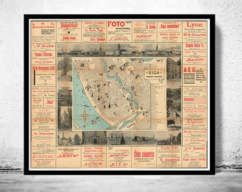 Old Map of Riga Latvia