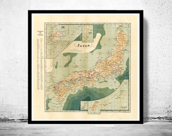 Vintage Map of Japan 1913 Antique map