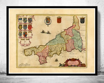 Old Map of Cornwall 1665 England United Kingdom