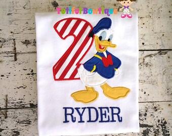 boutique inspired donald duck birhday shirt