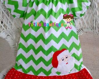 Boutique Christmas peasant dress, Santa christmas dress, christmas dress
