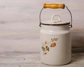 Floral design white enamel can enamel kitchenware vintage enamel vase white  rustic farmhouse easter