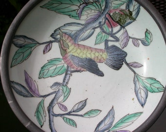 chinese antique  hand painted  flower bird porcelain plate signed with heavy metal frame