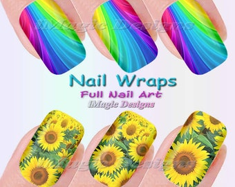 Nail Wraps, Waterslide Full Nail Decals, Stickers, Sunflower or Rainbow