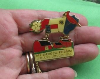Vintage Lions Club North Carolina Enameled Pin