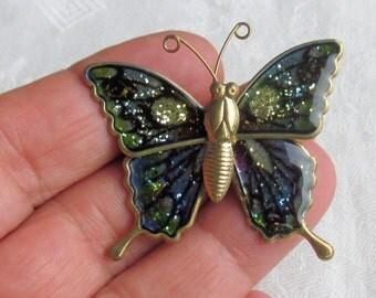 Retro Blue Green Glittery Butterfly Brooch Made In Taiwan