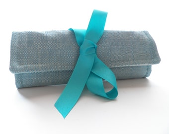 Turquoise Blue  Jewelry Roll Organizer Bag Monogrammed Travel or Bridesmaid Gift Travel Organizer