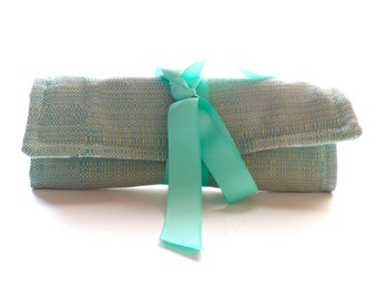 Aqua Blue Green Jewelry Roll Organizer Bag for Travel or Bridesmaid Gift Monogrammed