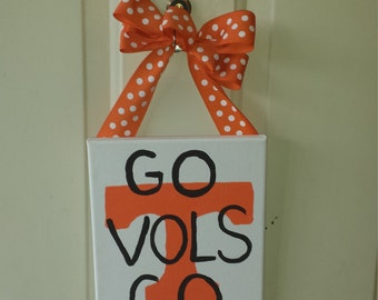SEC Pride Tennessee GO VOLs Football hand-painted canvas Door Hanger