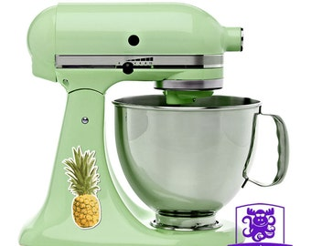 Vintage Retro Tropical Pineapple Kitchen Stand Mixer Wrap Front & Back Decal Set Full Color