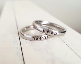 Stainless Steel Stacking Ring Name Ring 3 mm Hand Stamped ring stackable stamped jelwery name ring mothers ring hypoallergenic comfort fit