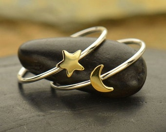 Sterling Silver and Bronze Moon and Star Ring Set