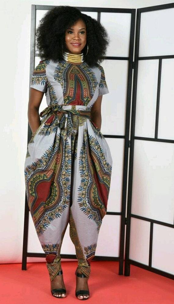 Jem Dashiki Grey Harem Jumpsuit- African print clothing