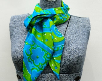 Scarves by Vera, Vintage Vera Neumann Long All Silk Scarf Blue Green White Paisley Flower Power Vera Scarf Without Signature Collectible