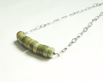 summer birthday gift for woman / short layering necklace / minimal necklace august birthday / jade necklace / gunmetal short necklace
